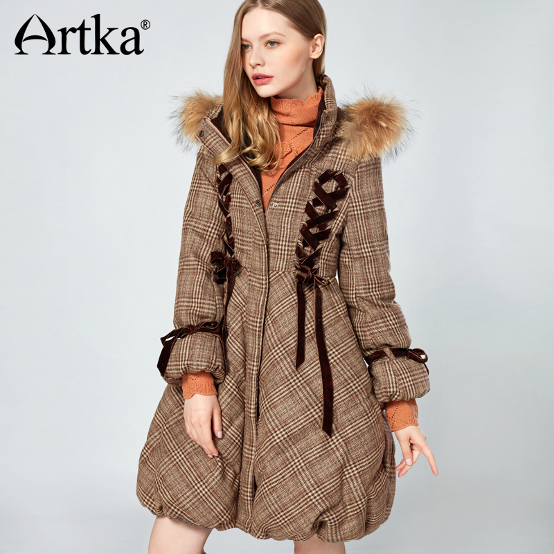 Artka 2018 Women's Long Down Parka Coat With Fur Trim Hood Winter Warm Puffer 90% Duck Down Jacket With Fur Collar ZK10079D 2017 men down jacket winter warm collar fur trim hood coat outwear puffer down cotton long jacket clothes thick canada cheap
