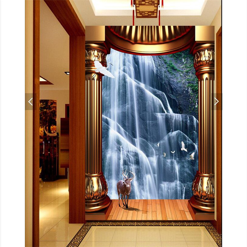 Genial Home Decor Wall Paper 3d Art Mural Waterfall Background Golden Pillars  Covering Modern Wall Painting For Living Room Wallpaper In Wallpapers From  Home ...