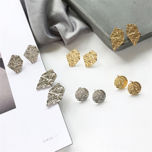 Metal earrings fashion design simple geometric round multilateral character texture based Delicate