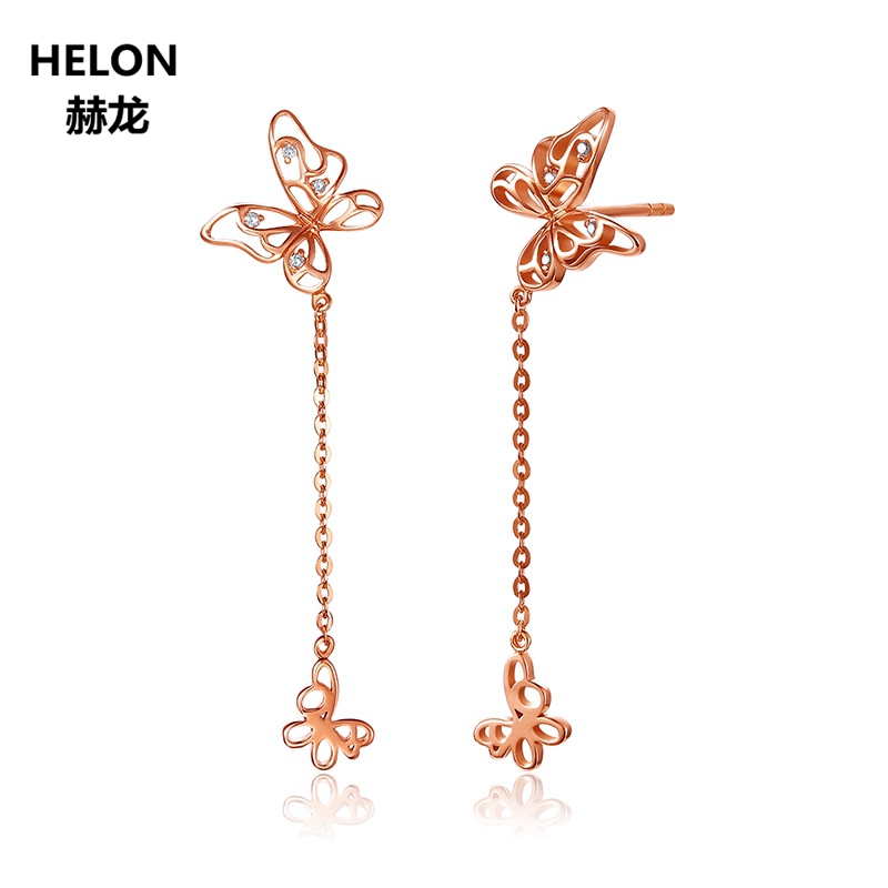 Solid 18k Rose Gold Unique Stud Earrings for Women SI/H 100% Natural Diamonds Earrings Unique Trendy Party Fine Jewelry ani 18k rose gold women circle earrings fashion hip hop trendy young lady party big round hoop earrings fine jewelry gift
