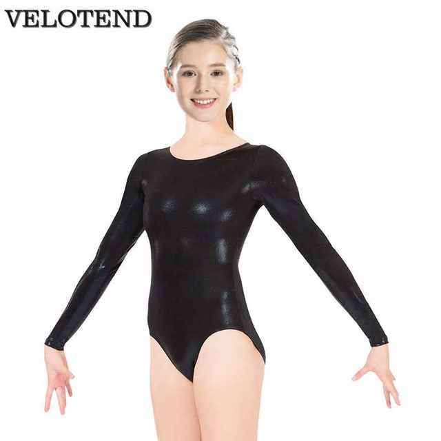 27930835d VELOTEND Womens Black Long Sleeve Leotard Bodysuit Lycra Spandex ...
