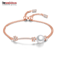 LZESHINE Real 925 Sterling Silver Pearl Charm Bracelets Christmas Gift For Women Fine Brand Jewelry AAA