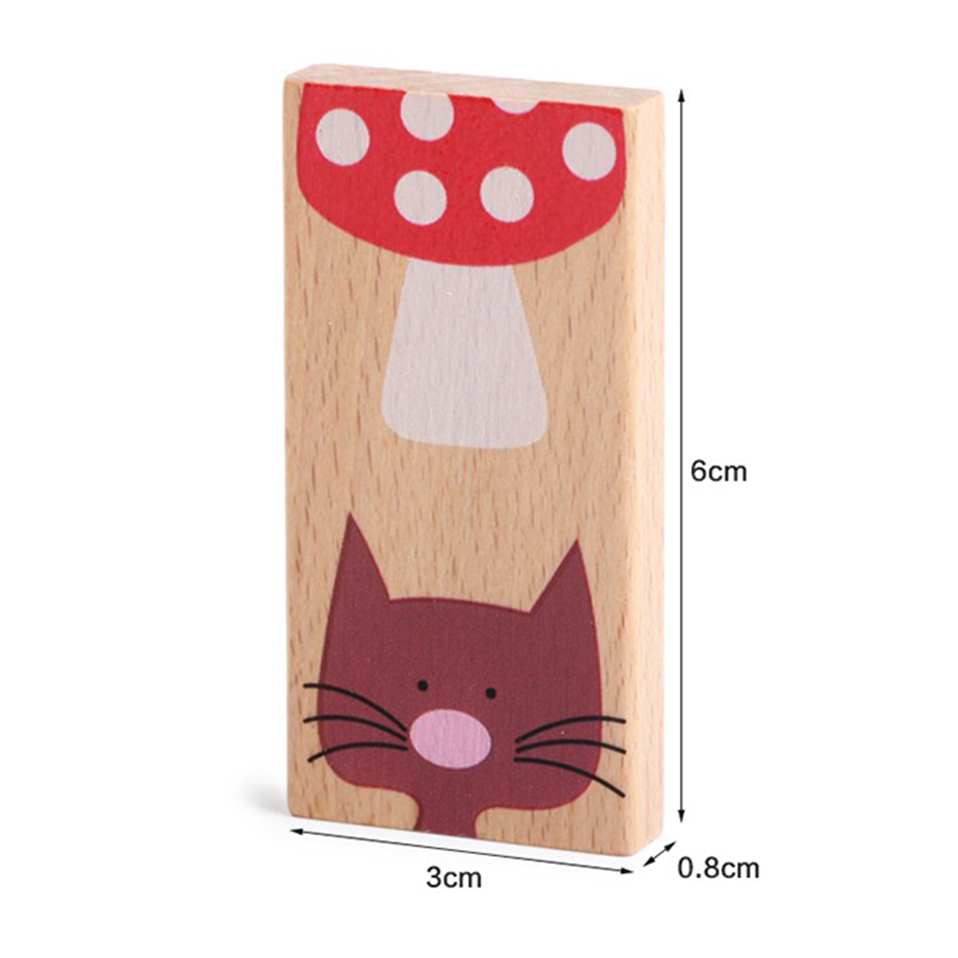 28pcs/set Cartoon Animal Wooden Puzzles Colored Dominoes Montessori Educational Toys Cute baby Birthday Gifts Funny kids Games
