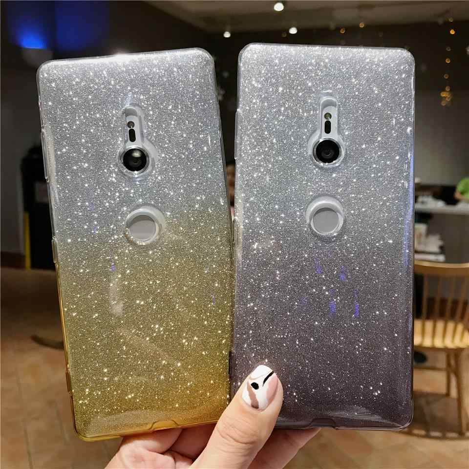 Glitter Case For Sony XZ3 Cover XZ XZ1 XZ2 XZ4 Compact Z5 Rainbow Transparent Silicone Soft Case Xperia X XA XA1 XA2 XA3 Ultra