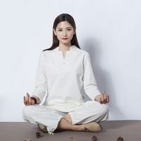 Women Yoga Clothes Sets Cotton Meditation Clothing Shirt And Pants 2pcs Set
