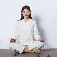 Women Yoga Clothes Sets Cotton Meditation Clothing Shirt And Pants 2pcs Set