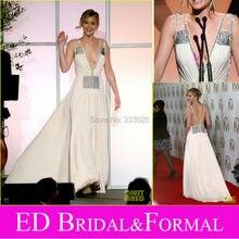 Eine Linie Tiefer V-ausschnitt Chiffon Jennifer Lawrence 2015 Backless Abendkleid Perlen Sexy Open Back Promi Formale Abendkleid