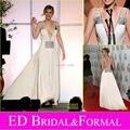 A linha mergulhando V Neck Chiffon Jennifer Lawrence Backless Prom Dress Sexy abrir voltar celebridade vestido de noite Formal