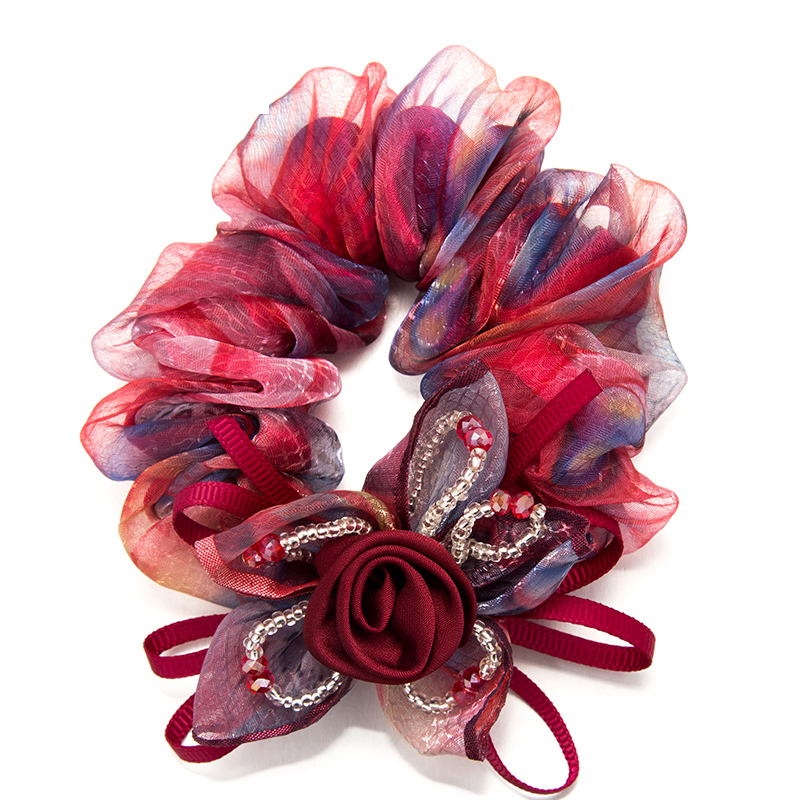 2016 Fashion Elastic Hair Accossries Gauze One Rose Flower Ribbons bow For Girl Women Po ...