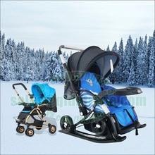 Снежные лыжные Санки, детская коляска 3 в 1, 2 направления, легко складывается, плоская, расширяющаяся коляска