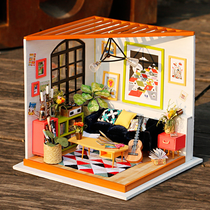 Doll Houses Diy Doll House Wooden Dollhouse Miniaturas Furniture Toy Hand-assembled House Model Gift For Children Cass Music Room Dg106 #e Preventing Hairs From Graying And Helpful To Retain Complexion Dolls & Stuffed Toys
