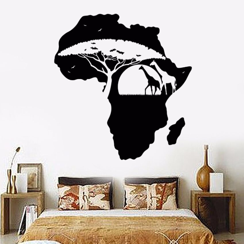 vinyl wall decal removable africa continent landscape map wall