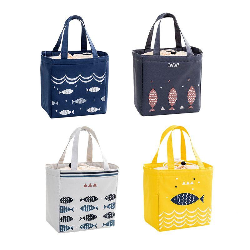 1 Pc Thermal Isolierte Lunch Box Kordelzug Tasche Tote Cartoon Pouch Mittagessen Container Tragbare Mittagessen Handtasche