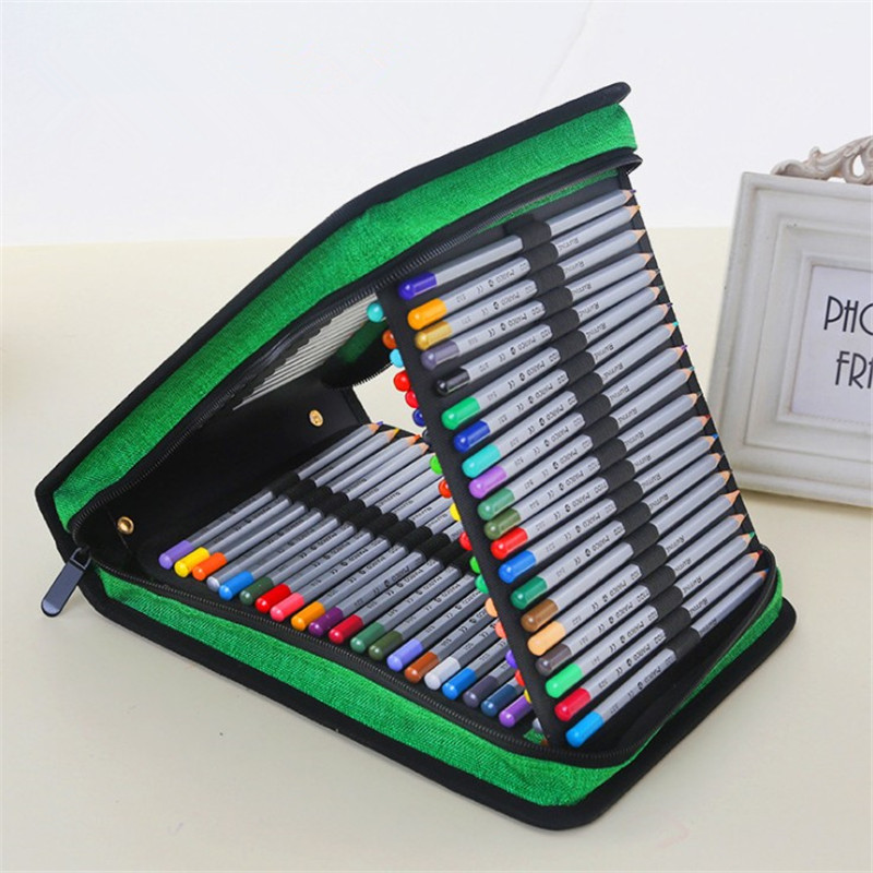 120 Slots Big Pencil Case Handy Large Capacity Pencil Bag 4 Layer Oxford Canvas Pouch School Art Potlood Tas Houder Estuches kicute new 120 slots large capacity oxford canvas 4 layers school pencil case pencil bag art marker pen holder school supplies