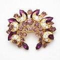 Новое поступление горячая распродажа фиолетовый кристаллы цветок свадебный букет брошь для новобрачных дешевые оптовая продажа! Золото тон