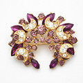 New Arrival Hot Selling Purple Crystals Flower Wedding Bouquet Brooch For Bridal Cheap Wholesale! Gold Tone