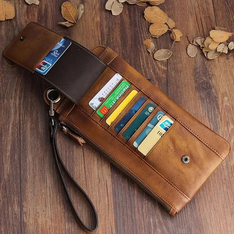 Купить длинный мужской кошелек для карт из натуральной коровьей кожи
