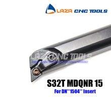 S32T-MDQNR 15 Chato Bar Virando Titular Interna, 107.5 Ângulo da ferramenta De Corte CNC, barra de Mandrilar Indexáveis para DNMG1504, torno Chato bar