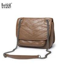 BRIGGS Brand Vintage Women Messenger Bag Top Quality Leather Chains Female Shoulder Ladies Crossbody Sac