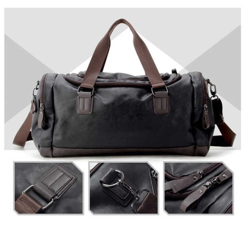 Men Travel Duffle Bag PU Leather Men\'S Travel Bags Black Shoulder Handbag Bucket Messenger Bag Tote Male Duffel Bags