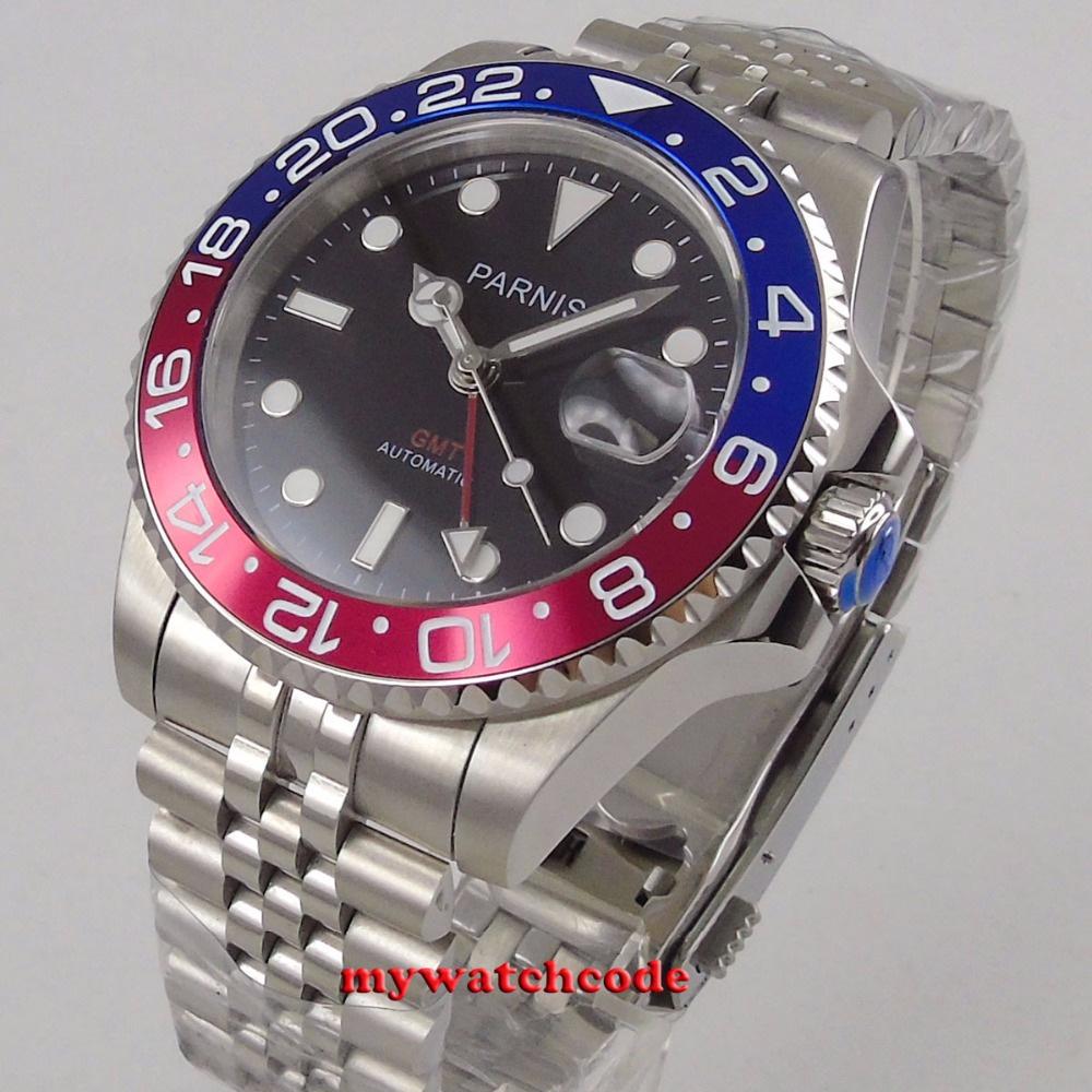 Parnis black dial 40mm Mechanical Watches GMT red blue Bezel Watch Automatic Stainless Steel Sapphire Mens
