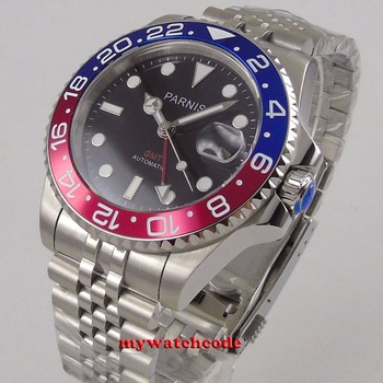 цена Parnis black dial 40mm Mechanical Watches GMT red blue Bezel Watch Automatic Stainless Steel Sapphire Mens Luxury Watch онлайн в 2017 году