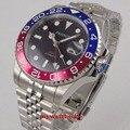 Parnis schwarz zifferblatt 40mm Mechanische Uhren GMT rot blau Lünette Uhr Automatische Edelstahl Sapphire Herren Luxus Uhr