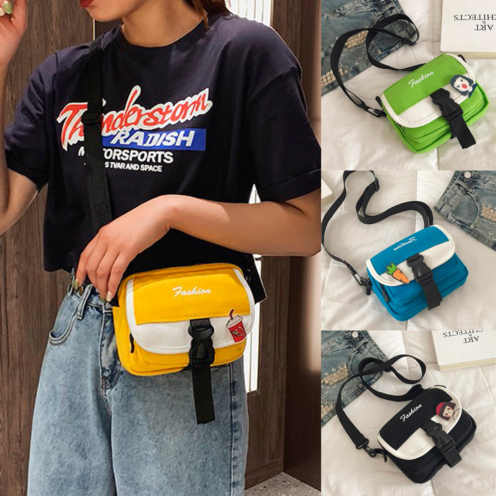 Outdoor Zipper Canvas Messenger Bag Sport Chest Bag Women Fashion Rainbow applique hip hop bag teenager girls travel Bolsos(China)