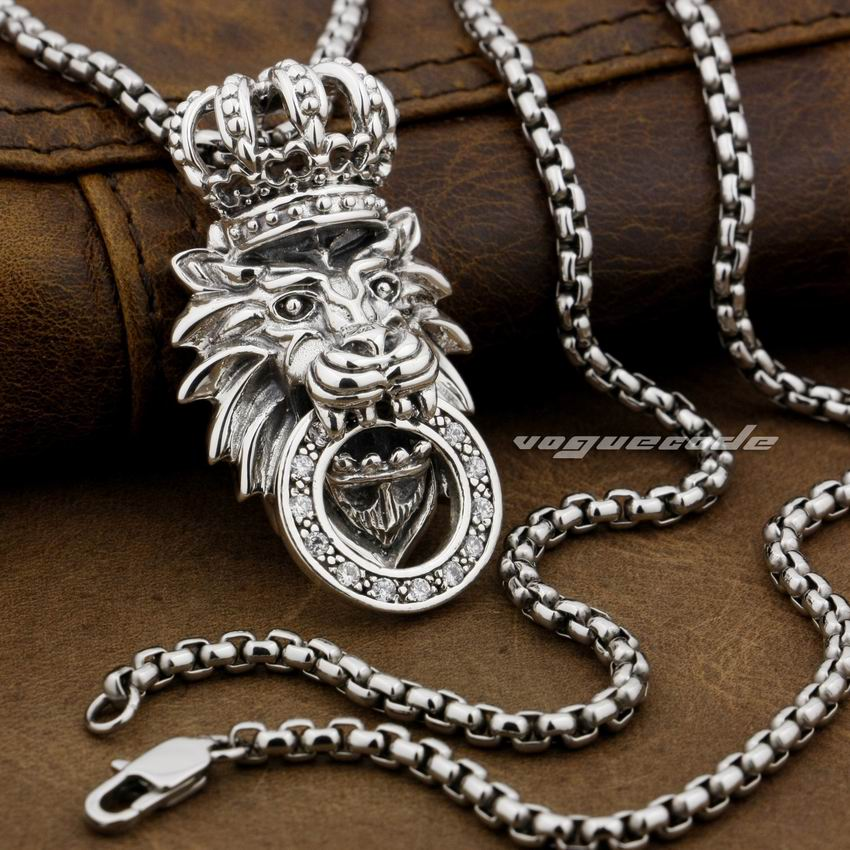 LINSION 925 Sterling Silver White CZ Stone King Lion Crown Mens Biker Rock Punk Pendant 8P026 925 sterling silver lovely dumbo white cz stone pendant 9s107a 92 5