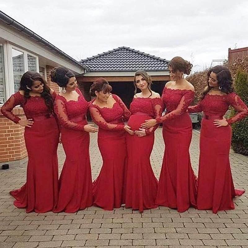 Elegant Long Sleeves Floor Length Satin Pleated Lace Applique Mermaid Bridesmaid Gowns Sexy Satin Bridesmaid Dresses