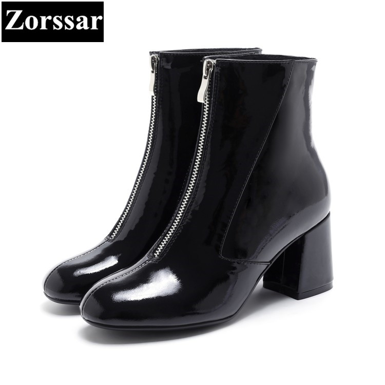 {Zorssar} 2018 NEW fashion women boots patent leather Square Toe High heels womens ankle boots shoes Autumn winter women shoes wetkiss genuine leather ankle boots women patent square toe zipper female boot autumn thick high heels winter boots woman shoes