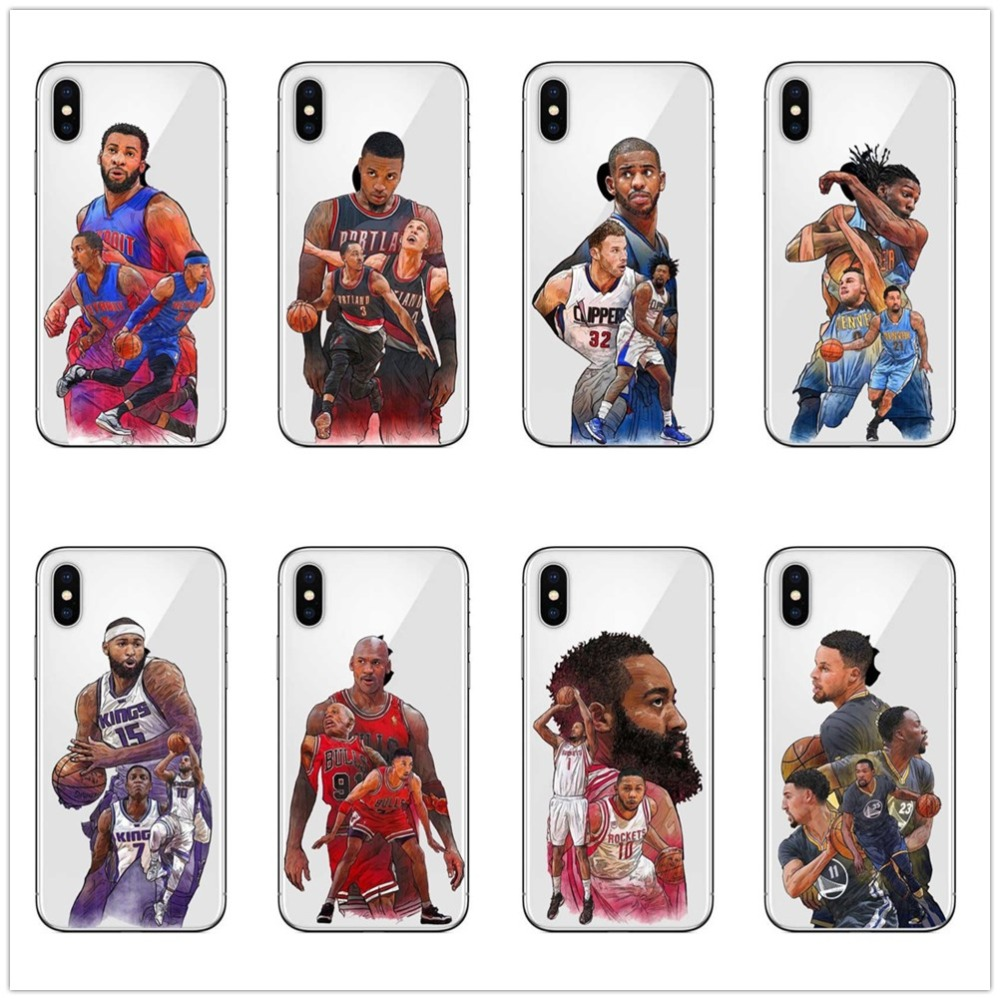NBA basketball team Jordan James Kevin Cover For iPhone Soft TPU Phone Case For iPhone 7 8Plus X 6S 6Plus 5S SE