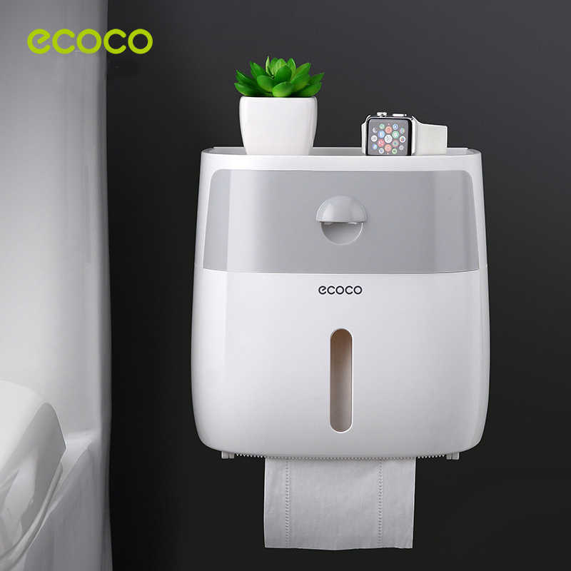 ECOCO Creative Paper Roll Dispenser Toilet Tissue Box with Drawer Wall Mount Waterproof Space Saver Bathroom Organizer Storage
