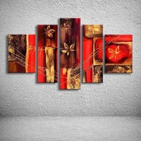 5 Panels Home Decoration On Canvas Abstract Flower Oil Painting Large Colorful Red Home Wall Art