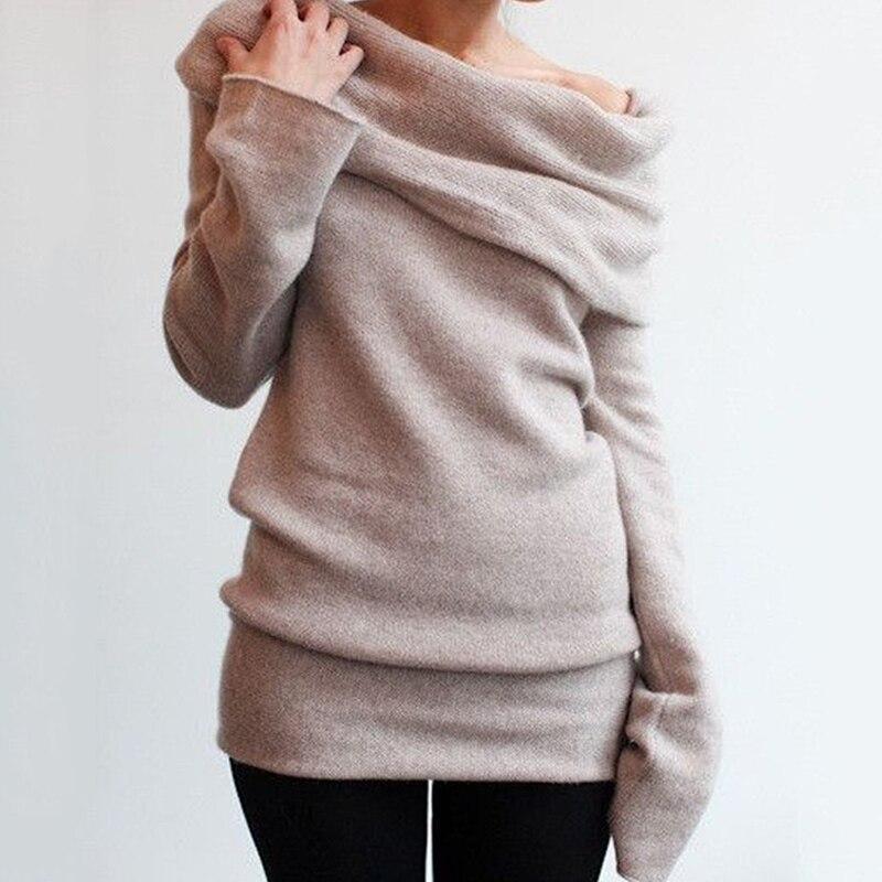 Antes de las mujeres suéter de punto Mujer Sexy de hombro manga larga suéteres 2018 Otoño Invierno Casual Pullover Tops jumper