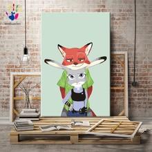 Diy краски по номерам картина по номерам с наборами Zootopia Детские любимые Мультяшные животные наполнение и окраска