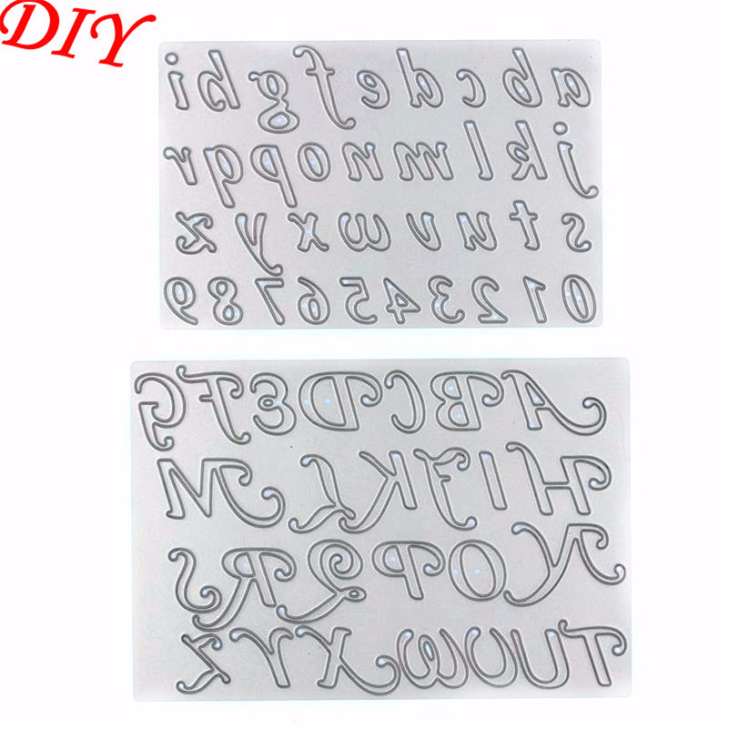 high quality 2pcs number and alphabet etched crave metal cutting dies stencils for diy scrapbook wedding paper card gift er 409 in cutting dies from home
