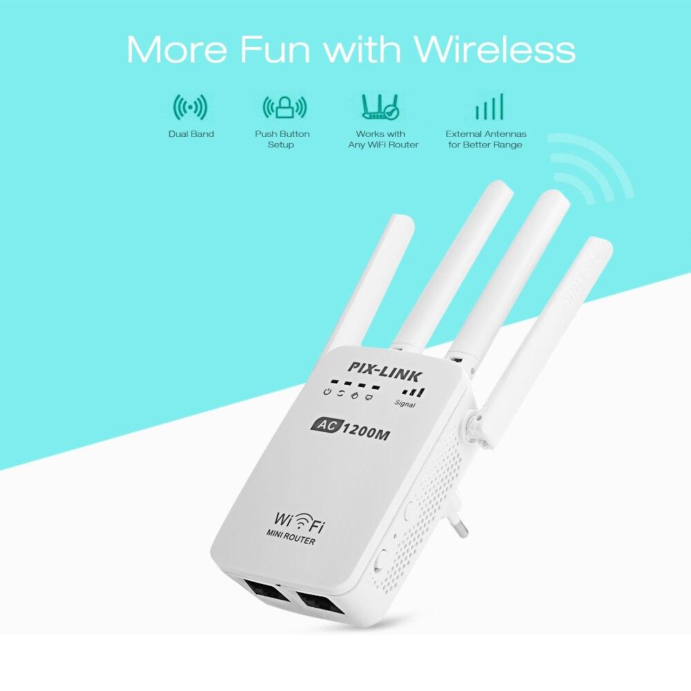 PIXLINK AC1200 WIFI répéteur/routeur/point d'accès AP amplificateur de signal wifi d'extension de portée sans fil avec antennes externes