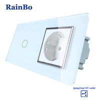 Luxury White Touch Screen Control Tempered Crystal Glass Panel Wall Light Home Touch Switch Socket Wall