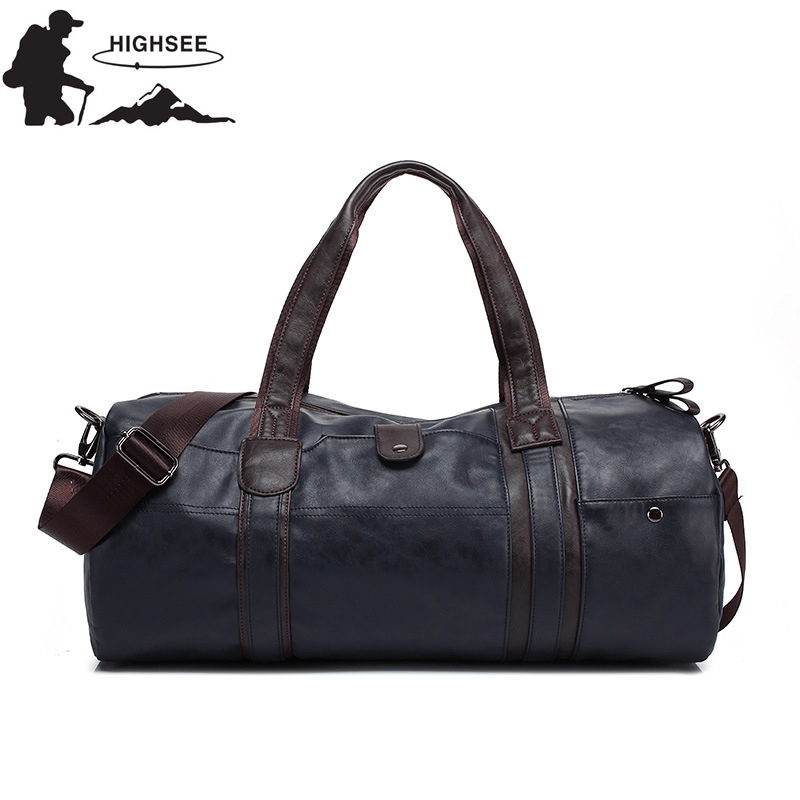 HIGHSEE Mens Large Capacity PU Leather Sports Bag Gym Bag Fitness Sport Bags Duffel Tote Travel Shoulder Handbag Male Bag ...