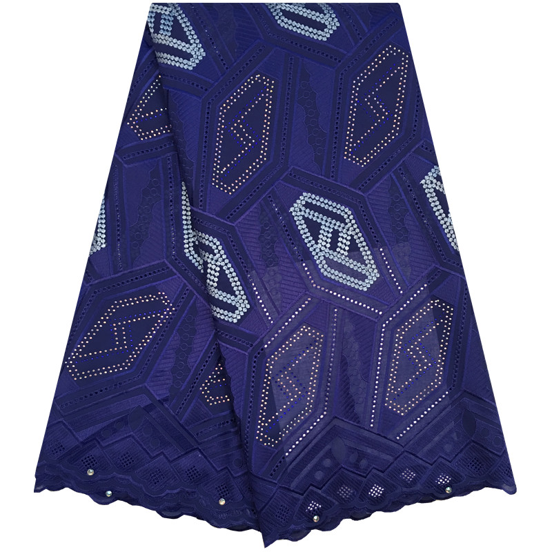 2018 Royal Blue Color Latest African Cotton Swiss Voile Lace Fabric High Quality African Swiss Voile