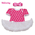 New Baby Girls Dress Polka Dot Print Romper With White Lace Ruffle Tutu Dresses Princess Girl Vestidos Infantil 2016 Summer