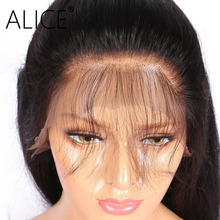ALICE Silky Straight 250 Density 360 Lace Frontal Wig Bleacked Knot Pre Plucked Remy Peruvian 360 Lace Wig With Baby Hair Around