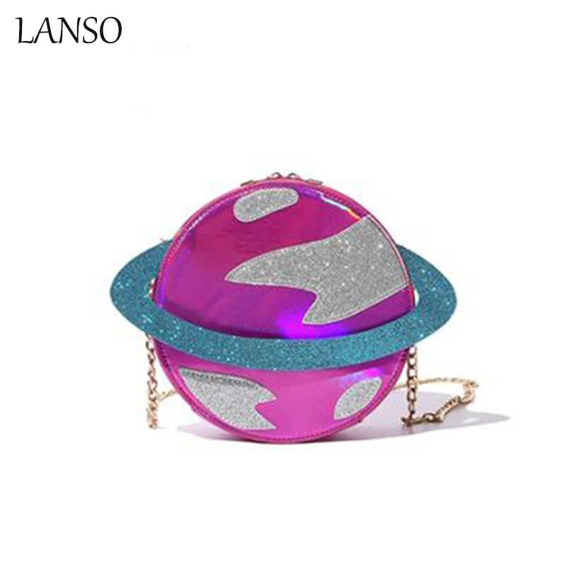 2017 New Creative Funny Planet Shoulder Bag Reflective Laser Printing UFO Celestial Body Universe Cartoon Chain Shoulder Bags