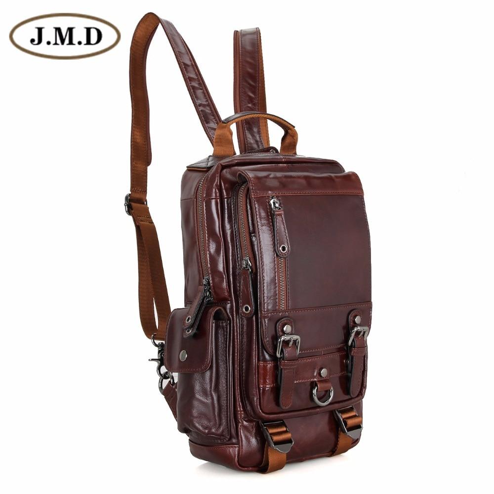 J.M.D Tanned Leather Mens Multifunction Backpack For Student School Girl's Backpacks 2002C