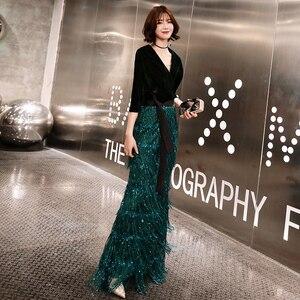 Image 3 - Wei yin zielone aksamitne suknie wieczorowe długa syrenka dekolt formalna sukienka cekinami Abendkleider damska suknia de soiree longue WY1262