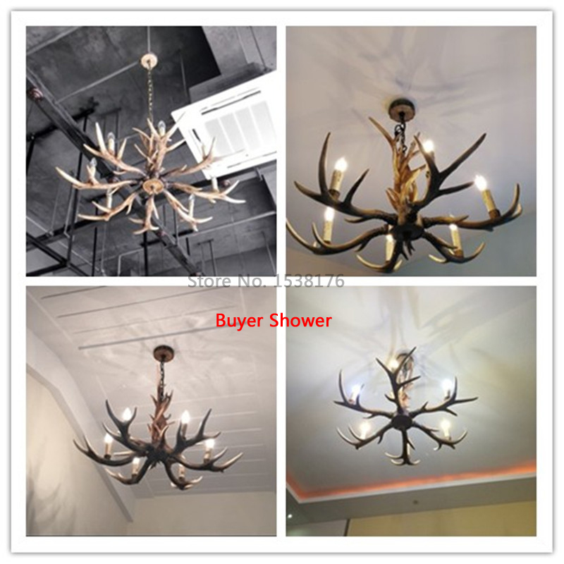 Europe Country 6 Head Candle Antler Chandelier American Retro Resin Deer Horn Lamps Home Decoration Lighting E14-4 110-240V-9