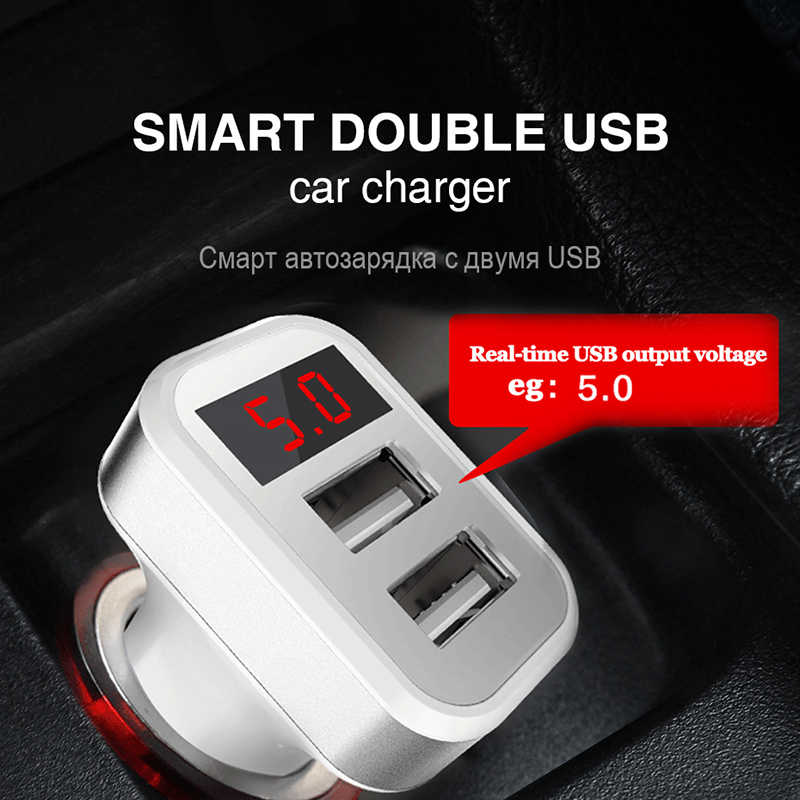 5V 2.1A Car Charger with LED Screen Smart Auto Car-Charger Adapter Micro 2 USB Cable Charging for iPhone 7 Samsung Xiaomi Huawei