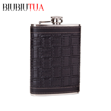 BIUBIUTUA Personalized Alcohol Flask 9oz Black Squares Leather Stainless Steel Portable Hip Flask Best Valentine's Day Gift