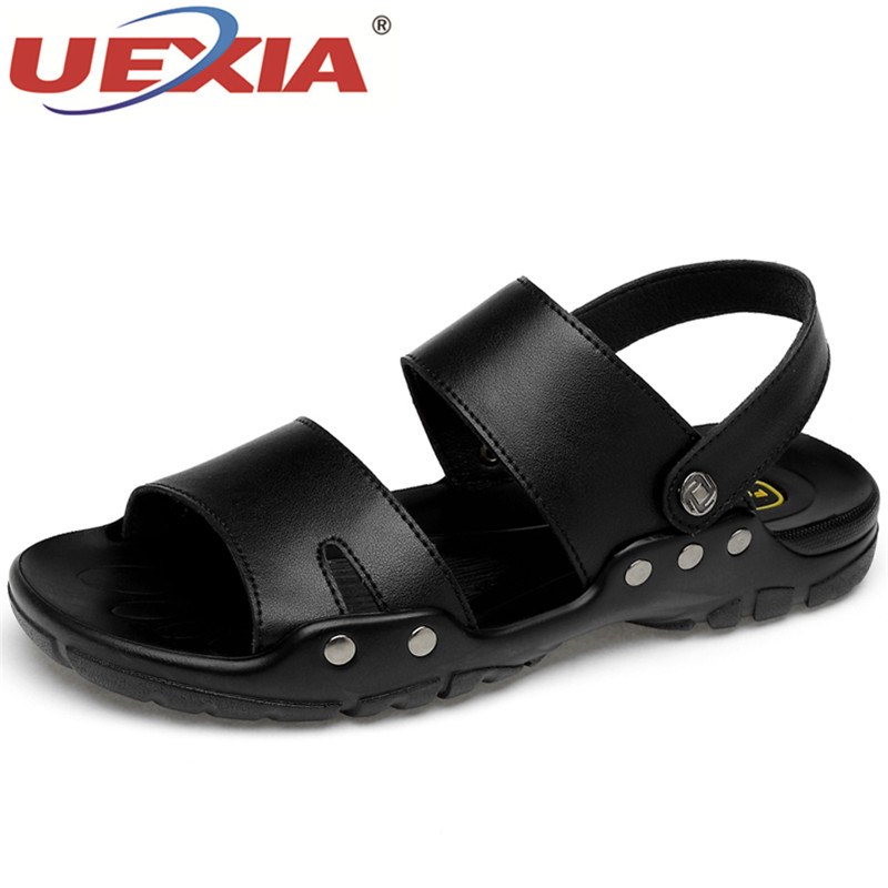все цены на UEXIA Summer Men Sandals Leather Shoes Men High Quality Breathable Leisure Beach Leather Fashion Walking footwear big size 38-52 онлайн
